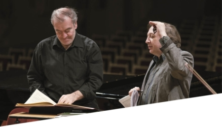Valery Gergiev and Vladimir Tarnopolski during the rehearsal of Tarnopolski's 'Tabula Russia'