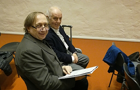 Daniel Barenboim and Vladimir Tarnopolski during the rehearsal of Tarnopolski's 'Perpetuum Moebius'